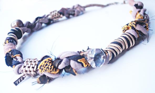 Vintage Brass + Brocade Crystal Detail Necklace