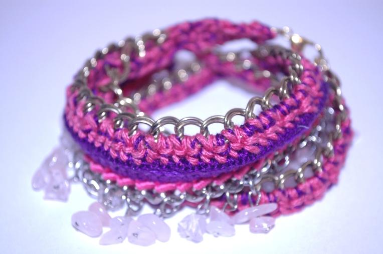 Mauve Decade - double coiled rose quartz + swarovski bracelet.