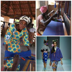 Talented women, weaving at hand looms behind the scenes on the Stella Jean 2014 collection, Burkina Faso