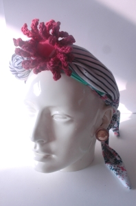 Summer reclaimed jersey cotton headwrap, with hand crochet gerbera flower in Bamboo yarn. Fiona Szabo 2014