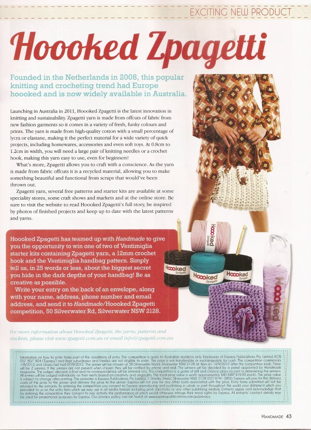 Zpagetti Chunky Yarn, by Hoooked, featured in Handmade Magazine