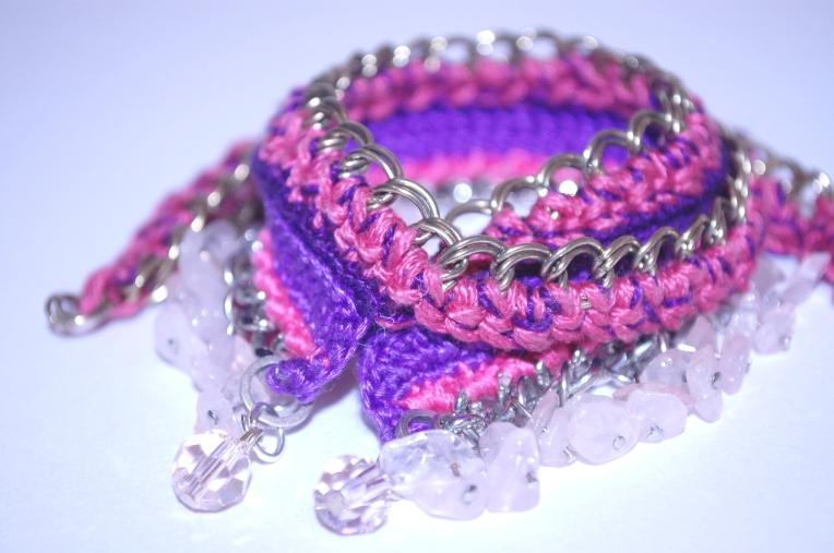 Mauve Decade, Crossover Charm Bracelet, with rose quartz + Swarovski elements