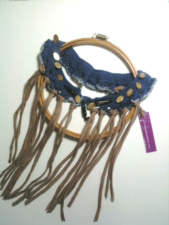 Boho Fringed Collar, with hand beaded details and organic linen edging and reclaimed cotton jersey fringing